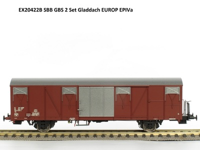 Exact-Train H0 Set Güterwagen Gbs 0185 150 0815-1, Gbs 0185 150 0828-4 SBB Epoche 4a