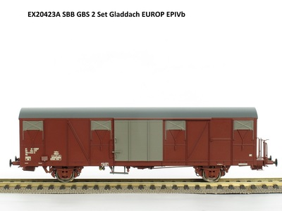 Exact-Train H0 Set Güterwagen Gbs 0185 150 0824-3, Gbs 0185 150 1547-9 SBB Epoche 4b